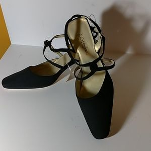 NWT Black Block Heel Strapped Shoes Size 8.5